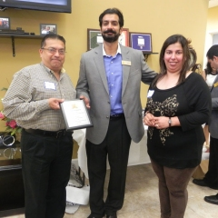 Sal & Neelam receving recognition for charity event partcipation